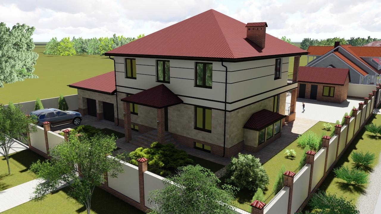 Дизайн-проект фасада и двора жилого дома в с. Молодежное